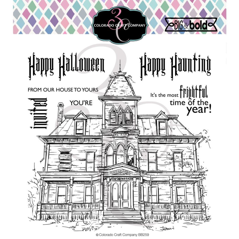 """C3BB259 Colorado Craft Company Clear Stamps Haunted House-Big & Bold 6""""X6"""""""