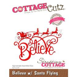 "CCE551 CottageCutz Elites Die Believe W/Santa Flying, 3.2""X2.3"""