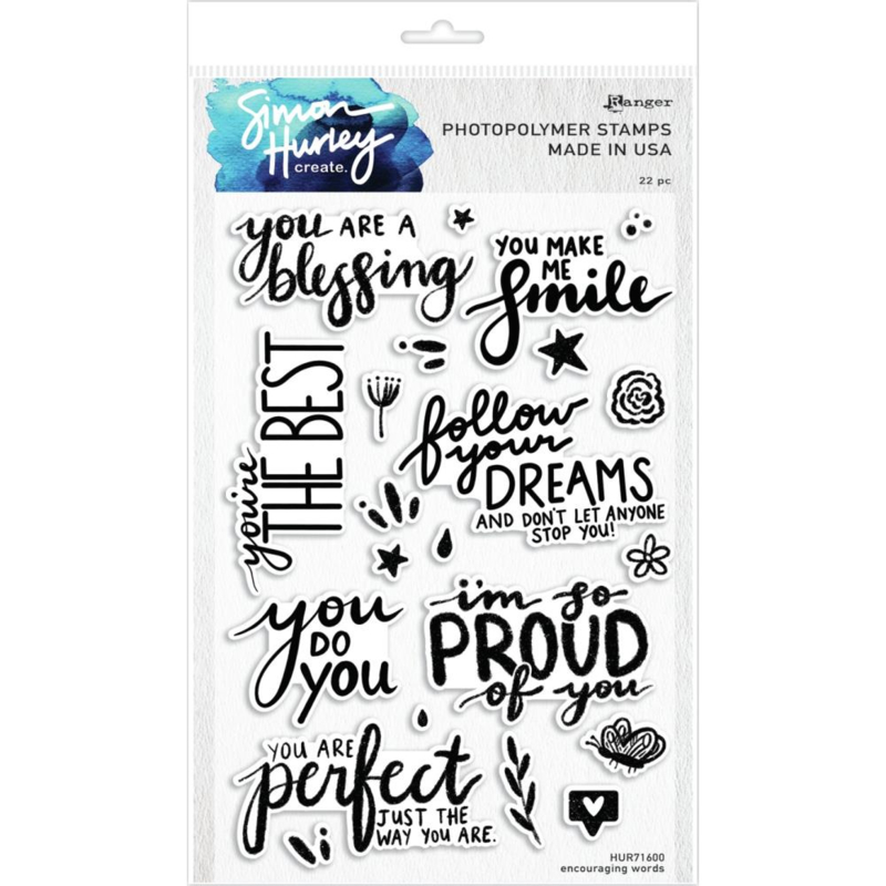 """617502 Simon Hurley create Cling Stamps Encouraging Words 6""""X9"""""""