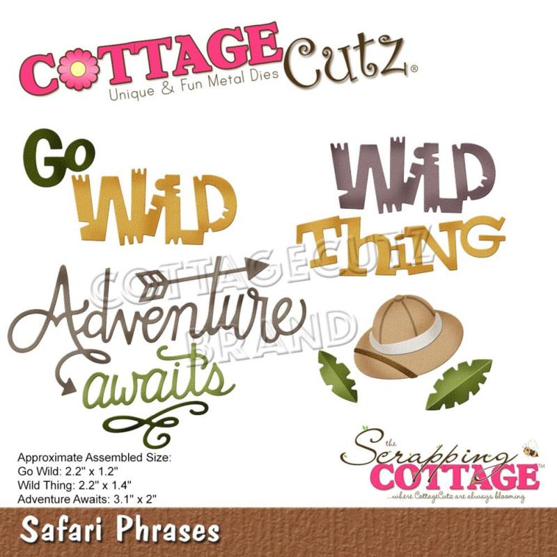 """CC848 CottageCutz Dies Safari Phrases 1.2"""" To 3.1"""""""