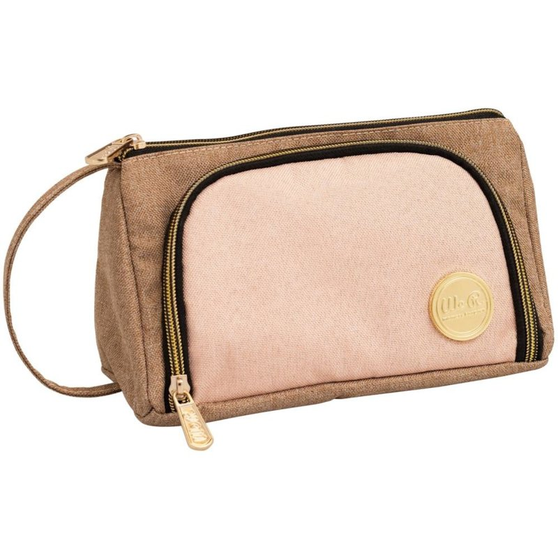 WR663148 We R Memory Keepers Crafter's Pencil Pouch Taupe & Pink