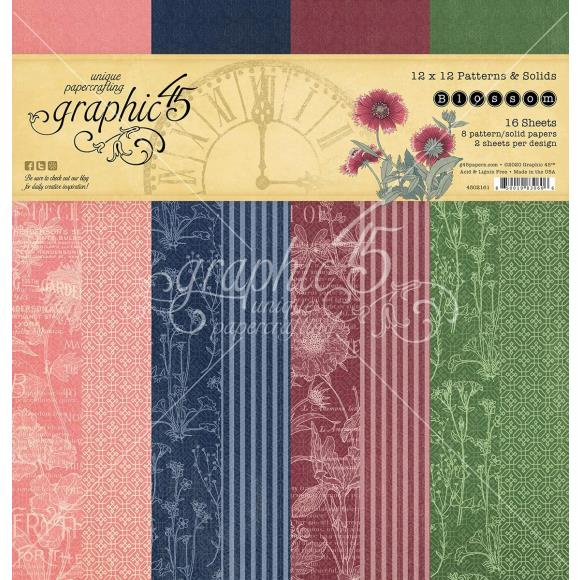 4502161 Graphic 45 Blossom 12x12 Inch Patterns & Solids Paper Pad