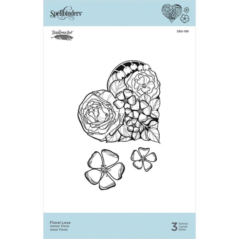 SBS188 Spellbinders Cling Stamps Floral Love  By Stephanie Low