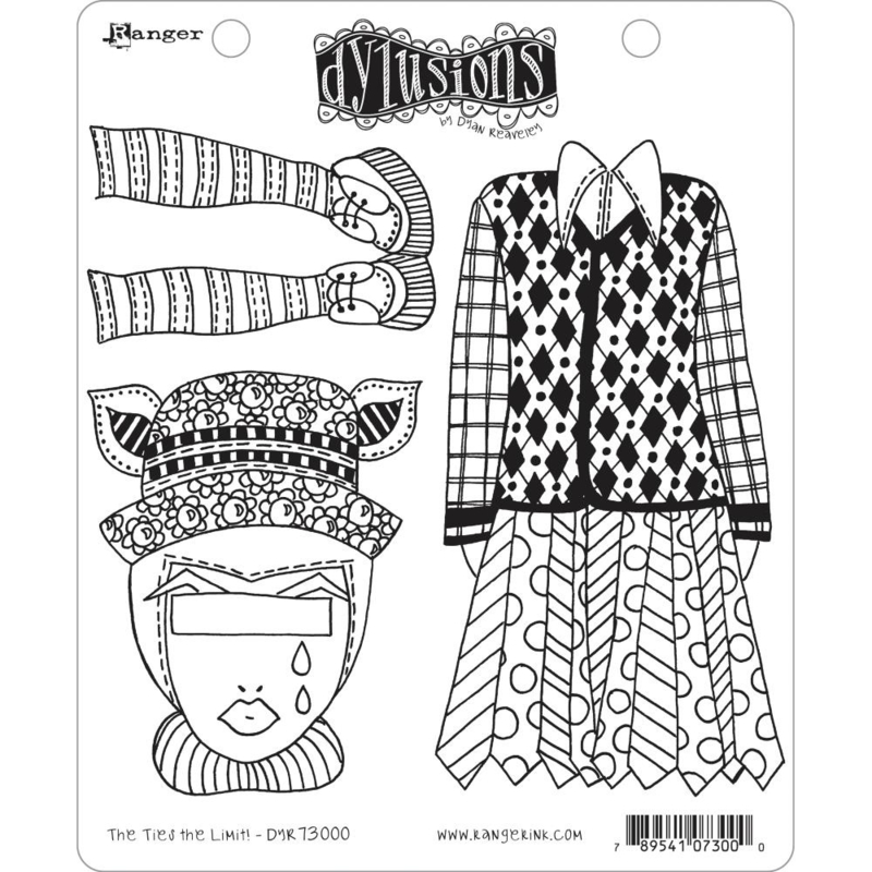 """617535 Dyan Reaveley's Dylusions Cling Stamp The Ties The Limit! 8.5""""X7"""""""