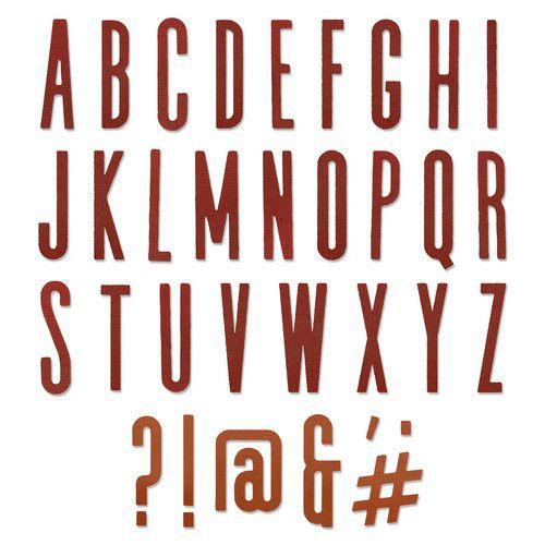 664223 Sizzix Thinlits Die set Alphanumeric Classic Upper by Tim Holtz 65PK