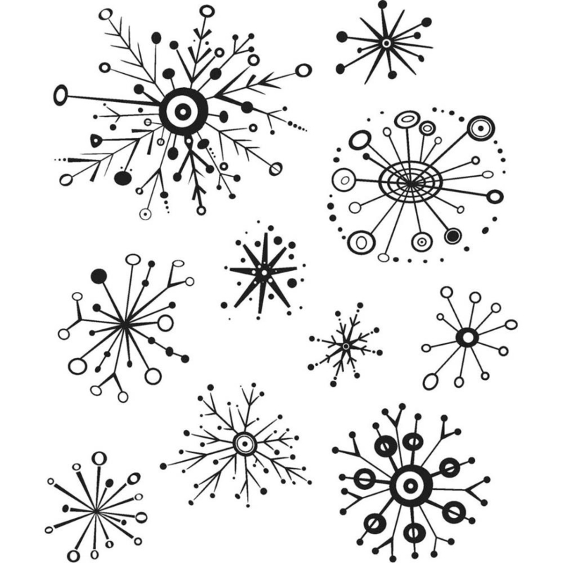 """CMS 417 Tim Holtz Cling Stamps Retro Flakes 7""""X8.5"""""""