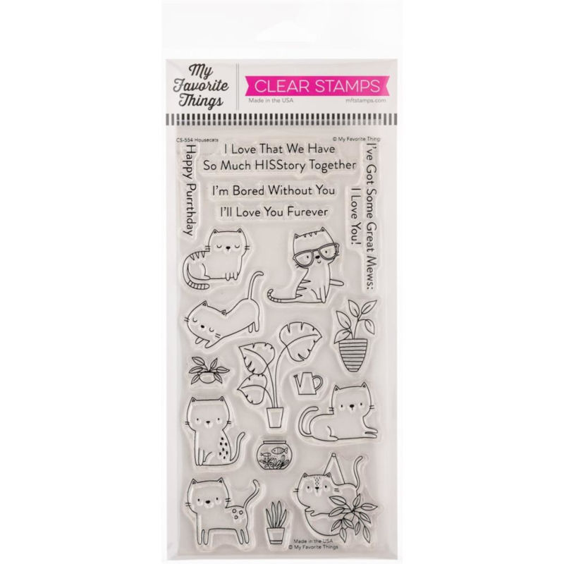 """CS554 My Favorite Things Clearly Sentimental Stamps Housecats 4""""X8"""""""