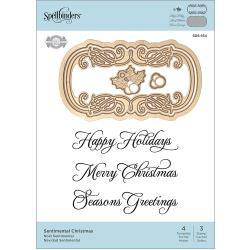 SDS164 Spellbinders Stamp & Die Set Sentimental Christmas By Becca Feeken