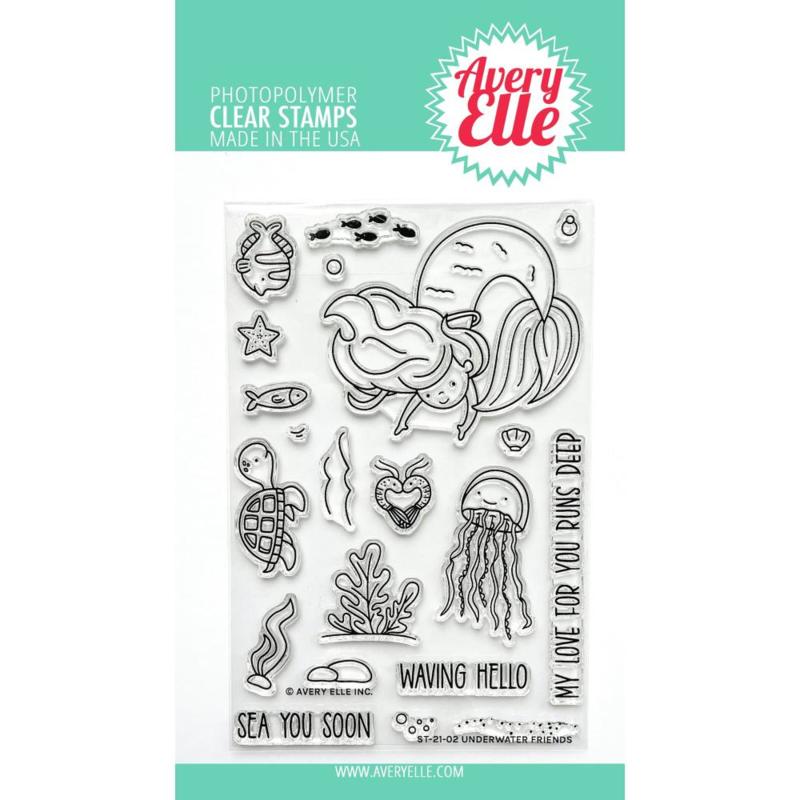 "647291 Avery Elle Clear Stamp Set Underwater Friends 4""X6"""