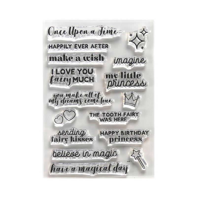 CS184 Elizabeth Crafts Clear Stamps Once Upon A Time Sentiments