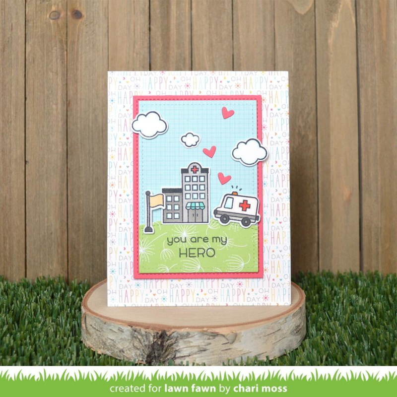 """LF2327 Lawn Fawn Clear Stamps Village Heroes 4""""X6"""""""