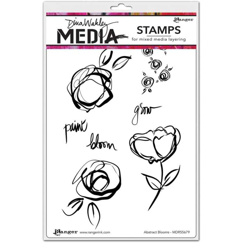 """466763 Dina Wakley Media Cling Stamps Abstract Blooms  6""""X9"""""""