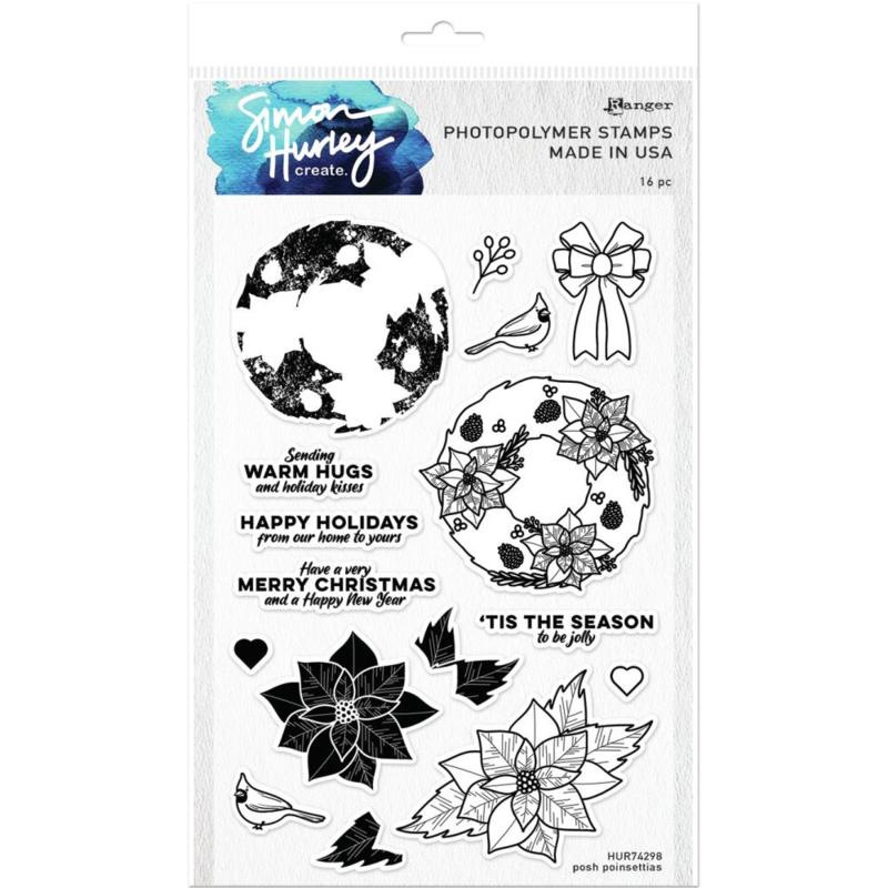 "HUR74298 Simon Hurley create. Cling Stamps Posh Poinsettas 6""X9"""