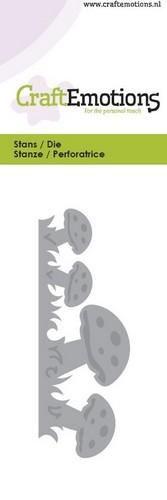 115633/0111 CraftEmotions Die - rand paddestoelen Card 5x10cm