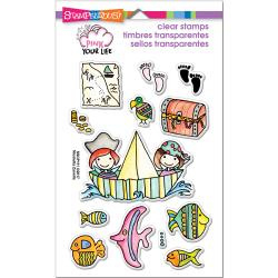 """375791 Stampendous Pink Your Life Perfectly Clear Stamps Whisper Friends Pirates  7.25""""X4.6"""""""