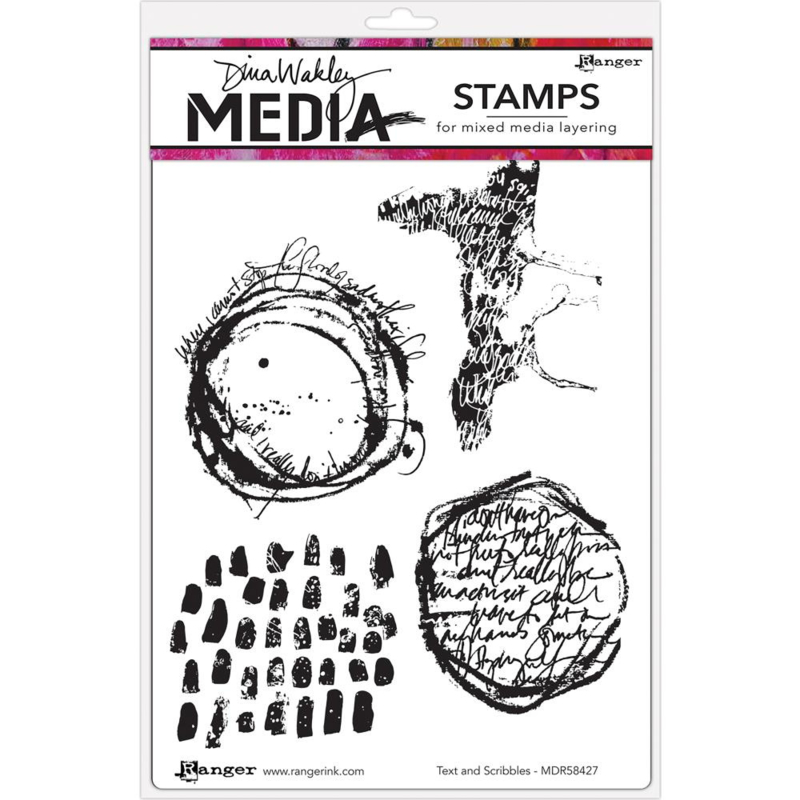 """200963 Dina Wakley Media Cling Stamps Text & Scribbles 6""""X9"""""""