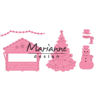 COL1440 Marianne Design Collectables Village decoration set 5