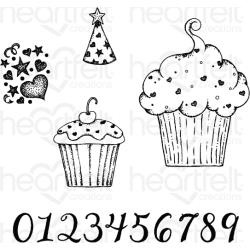 """584599 Heartfelt Creations Cling Rubber Stamp Set Sprinkled Confetti Cupcakes .75"""" To 5.5"""""""