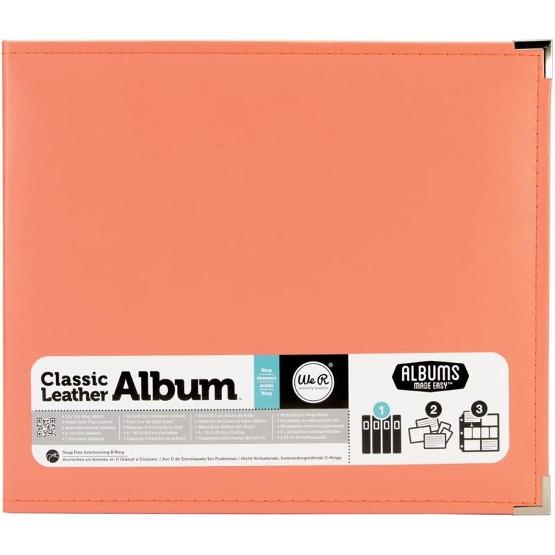 "517015 We R Classic Leather 3-Ring Album Coral 12""X12"""