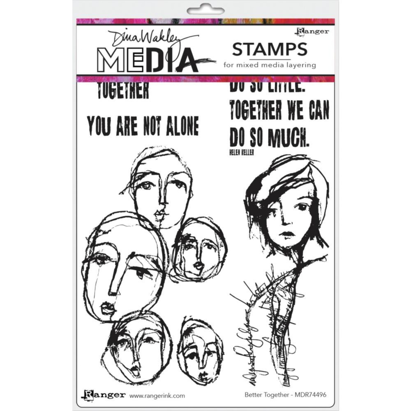 """638845 Dina Wakley Media Cling Stamps Better Together 6""""X9"""""""