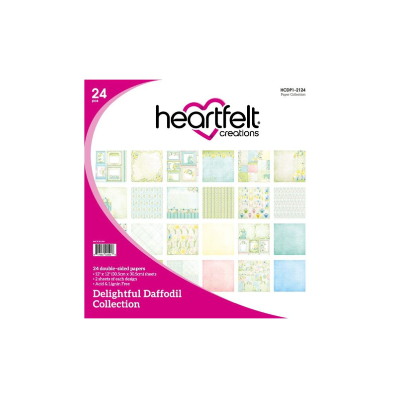 """HCDP1-2124 Heartfelt Creations Double-Sided Paper Pad Delightful Daffodil 12""""X12"""""""