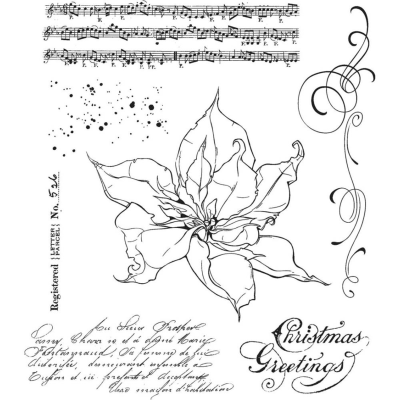 "CMS 426 Tim Holtz Cling Stamps The Poinsettia 7""X8.5"""