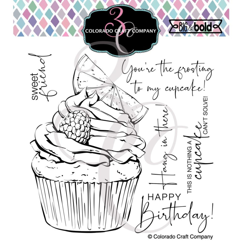 "651206 Colorado Craft Company Clear Stamps Citrus Berry Cupcake-Big & Bold 6""X6"""