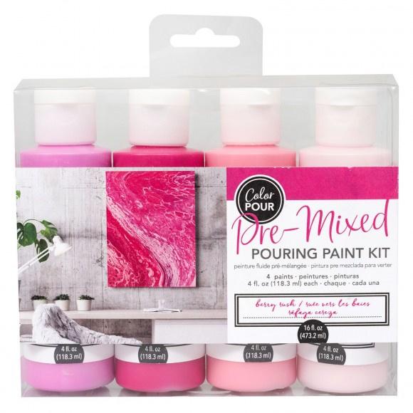 348501 American Crafts Color Pour pouring paint kit berry