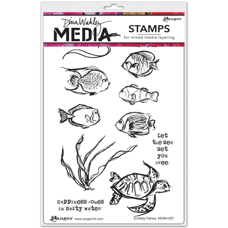 """343172 Dina Wakley Media Cling Stamps Scribbly Fishes 6""""X9"""""""
