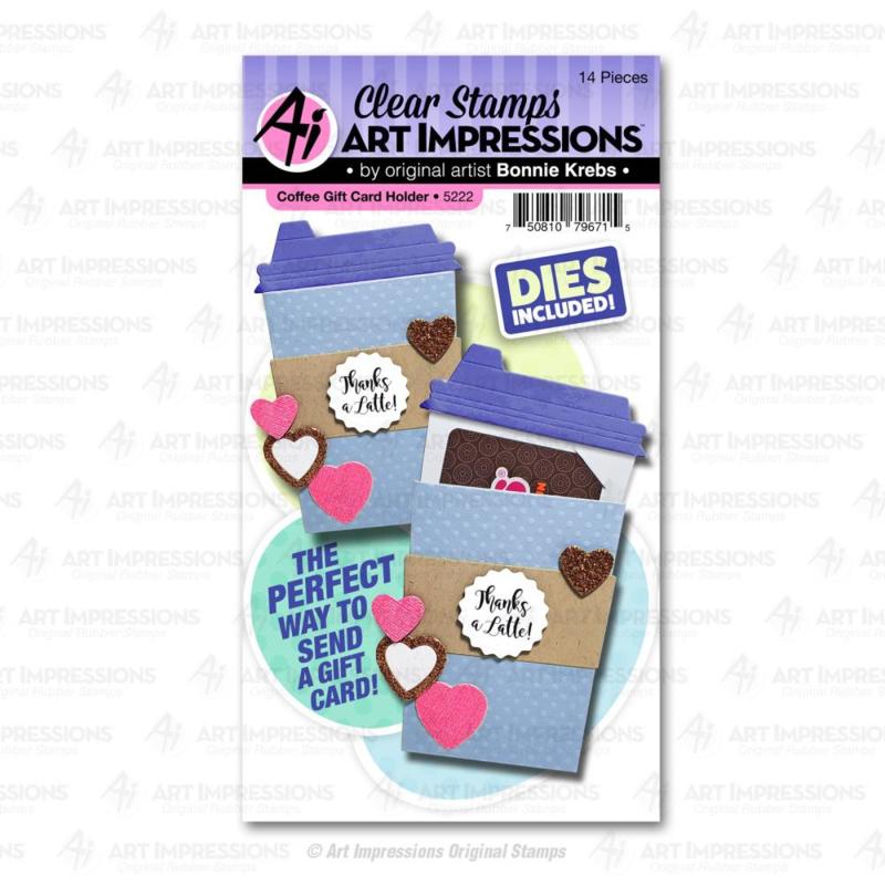 623293 Art Impressions Valentines Clear Stamp & Die Set Coffee Gift Card Holder