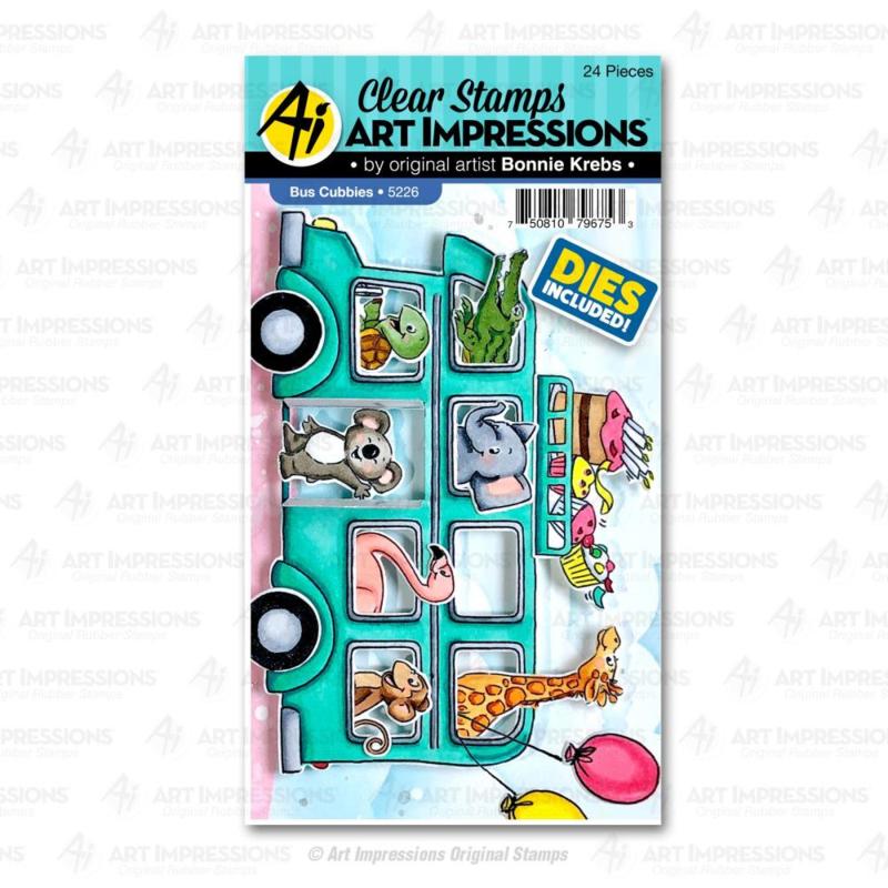623296 Art Impressions Critter Cubbies Clear Stamp & Die Set Bus
