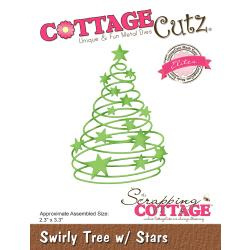 "473761 CottageCutz Elites Die Swirly Tree W/Stars 2.3""X3.3"""