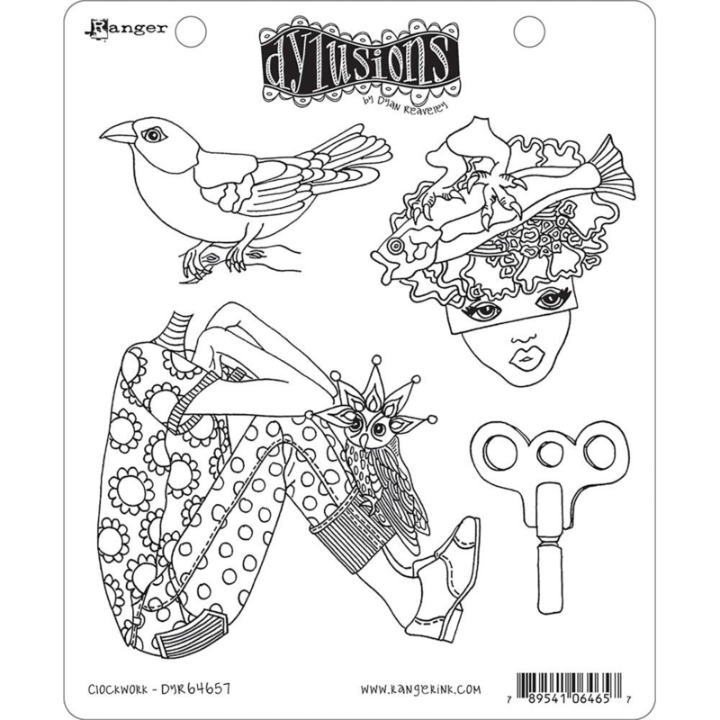 """541858 Dyan Reaveley's Dylusions Cling Stamp Collections Clockwork   8.5""""X7"""""""