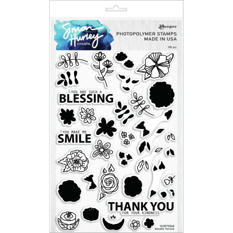 """628783 Simon Hurley create Cling Stamps Doodle Florals  6""""X9"""""""