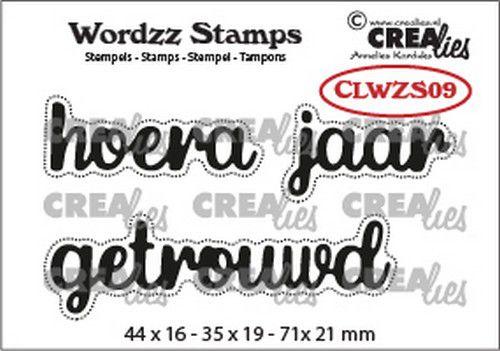 CLWZS09 Crealies Clearstamp Wordzz Hoera getrouwd