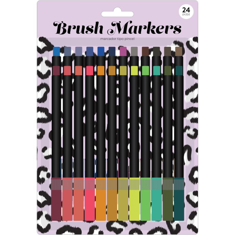 626054 American Crafts Brush Markers Lilac Leopard 24/Pkg