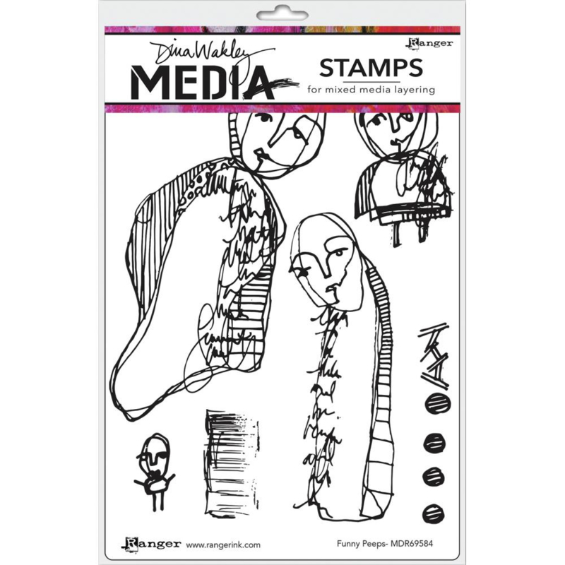 """617329 Dina Wakley Media Cling Stamps Funny Peeps 6""""X9"""""""