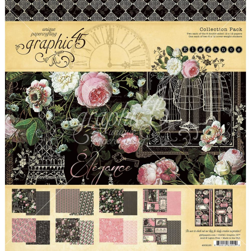 """G4502176 Graphic 45 Collection Pack Elegance 12""""X12"""""""