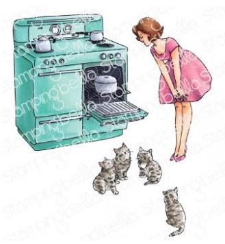 EB960 Stamping Bella Cling Stamps Edgar And Molly Vintage Here Kitty Set