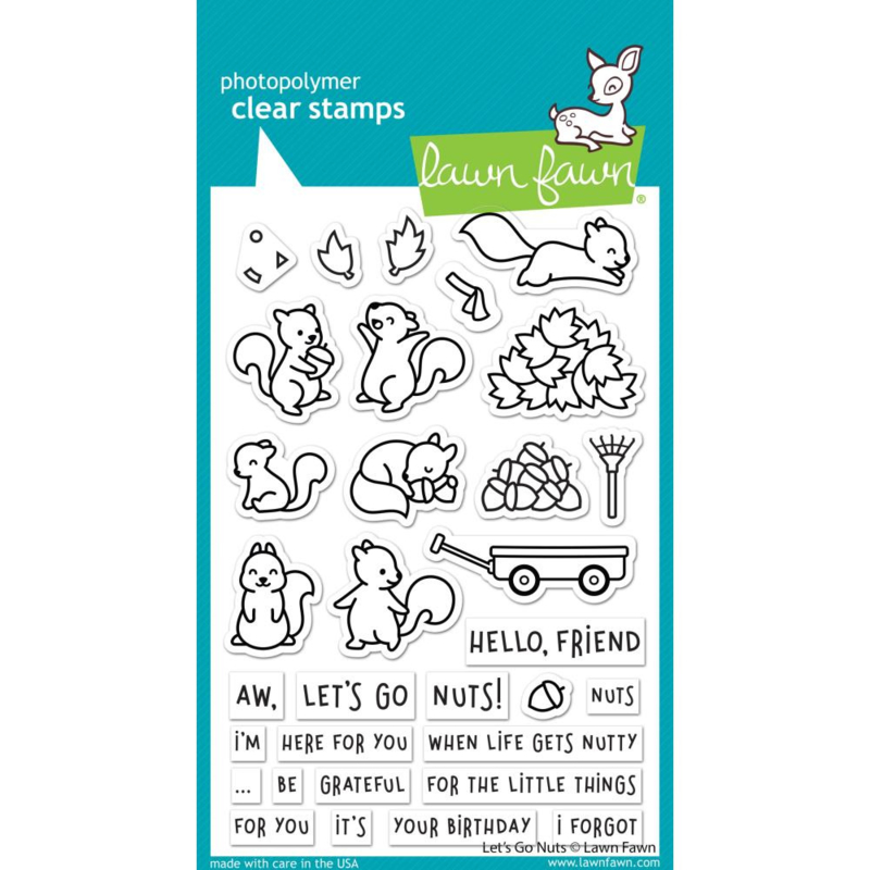 "LF2407 Lawn Fawn Clear Stamps Let's Go Nuts 4""X6"""