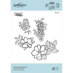 SBS182 Spellbinders Cling Stamps Peonies Blossoms By Stephanie Low