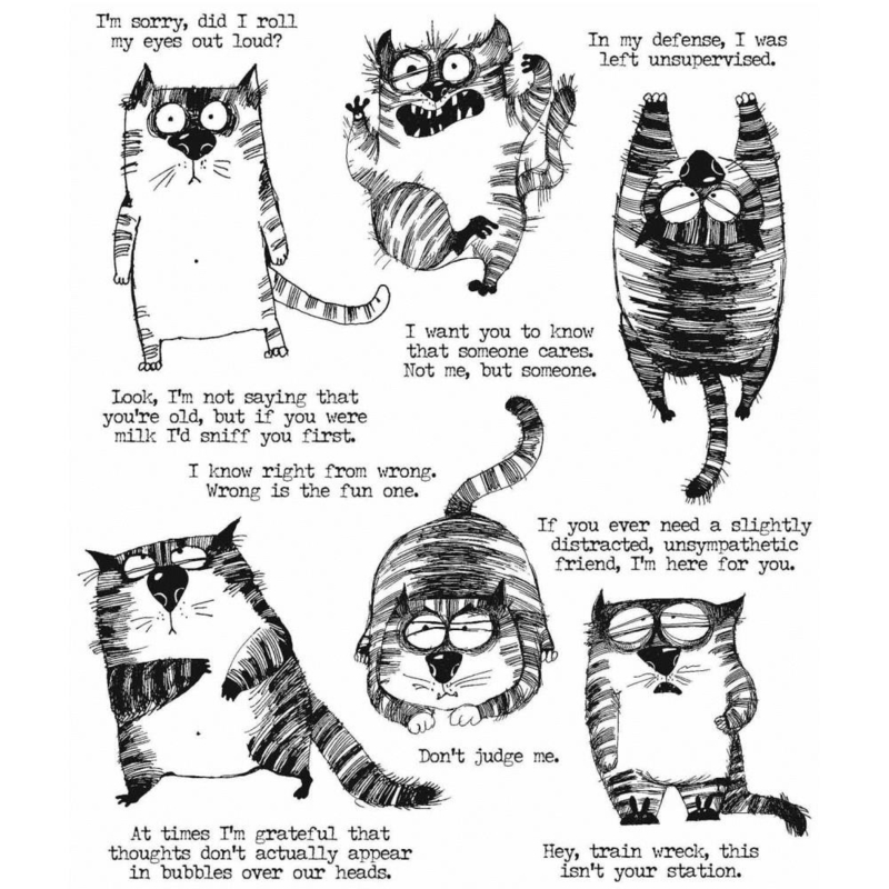 """CMS392 Tim Holtz Cling Stamps Snarky Cat 7""""X8.5"""""""