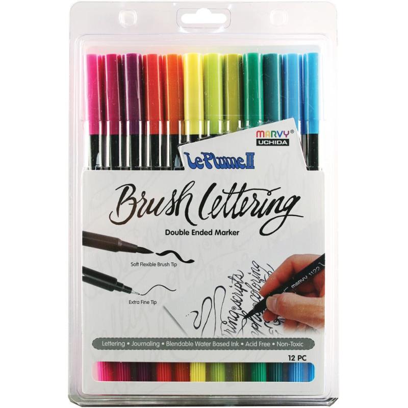 380985 Le Plume II Double-Ended Brush Lettering Marker Bright Set 12/Pkg