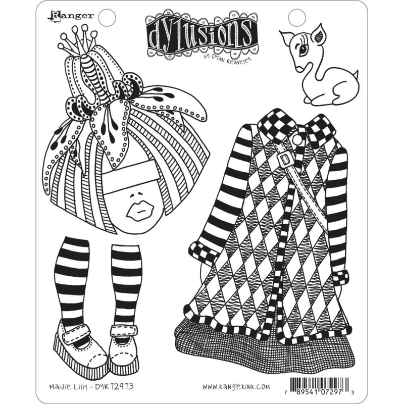 """617532 Dyan Reaveley's Dylusions Cling Stamp Maisie Lilly 8.5""""X7"""""""