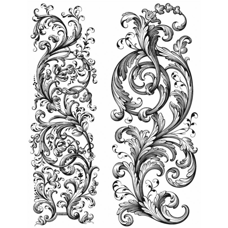 """CMS400 Tim Holtz Cling Stamps Baroque 7""""X8.5"""""""