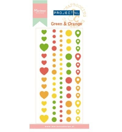 PL4502 - Project NL Adhesive stickers - Green & Orange