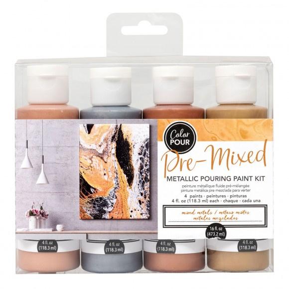 343344 American Crafts Color Pour metalllic painting set