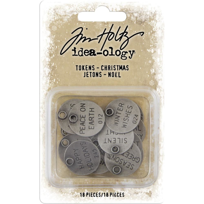 "TH93997 Idea-Ology Metal Typed Tokens Antique Nickel Christmas Words 1"" 18/Pkg"