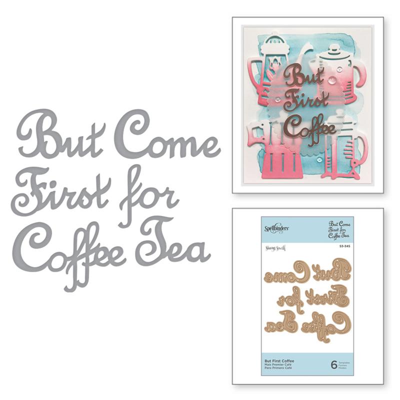 S3346 Spellbinders Shapeabilities Die D-Lites Cuppa Coffee, Cuppa Tea-Cup & Beans By Sharyn Sowell