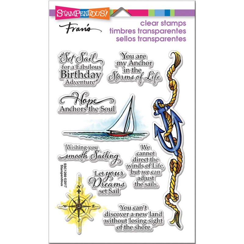 """375746 Stampendous Perfectly Clear Stamps Nautical Anchor 7.25""""X4.625"""""""